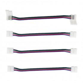 Connettore Doppio 4Pin 10mm + cavo di 15cm (per strisce LED RGB) -(Conf. 4pz)