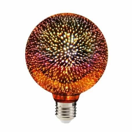 Lampadina Globo E27 in vetro cromato effetto 3D